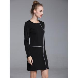 Graceful Contrast Trim Round Neck Long Sleeve Shift Dress For Women - BLACK XL