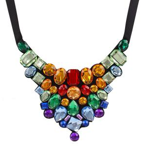 Chunky Faux Crystal Statement Necklace - COLORMIX