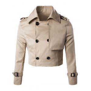 Trendy Double Breast Belted Trench Coat Twinset For Men - KHAKI 3XL