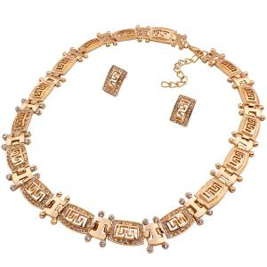 A Suit of Stylish Hollowed Fret Necklace Bracelet Ring and Earrings For Women -