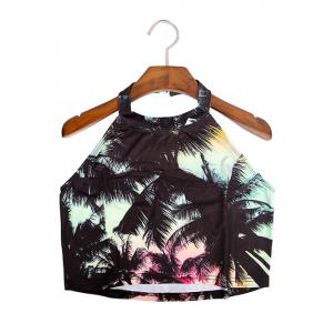 Sweet Women's Halter Coconut Tree Print Crop Top -