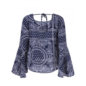 Tribal Print Open Back Bell Sleeves Blouse -