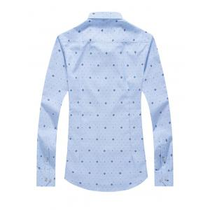 Tiny Polka Dot Print Turn-Down Collar Long Sleeve Shirt For Men -