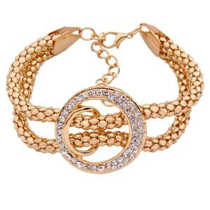A Suit of Stylish Rhinestone Circle Lariat Necklace Bracelet Ring and Earrings For Women -