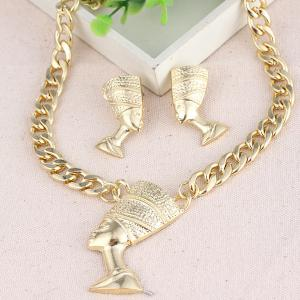 Alloy Egyptian Pharaoh Necklace and Earrings -