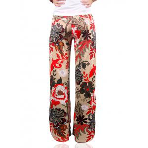 Low-Waist Tropical Floral Print Exumas Palazzo Pants - COLORMIX 2XL