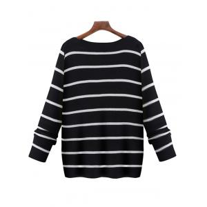 Oversized Boat Neck Long Sleeve Striped Sweater - BLACK 5XL