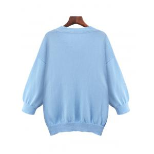 Plus Size Loose V Neck Sweater With Pocket -