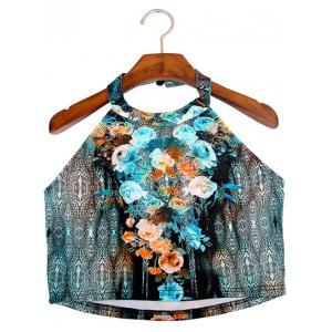 Chic Women's Halter Flowers Print Crop Top -