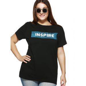 Plus Size Sequined Embellished T-Shirt -