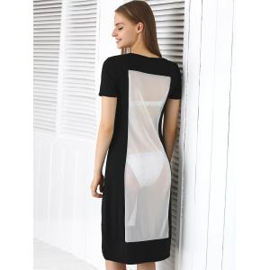 Short Sleeve See Through Club Dress - OFF-WHITE L