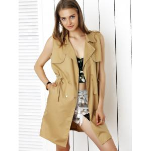 Stylish Sleeveless Waisted Drawstring Coat -