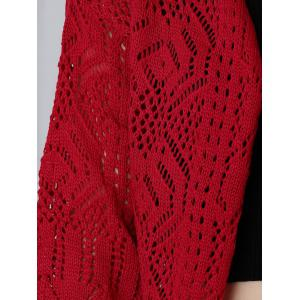 Crochet Candy Color Hollow Out Cardigan - RED ONE SIZE