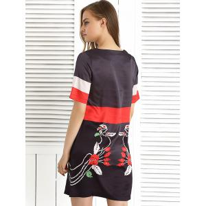 Short Sleeve Color Block Printed Dress -