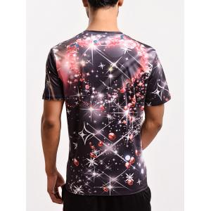 Fashion 3D Fireworks Print Round Neck Galaxy T-Shirt -