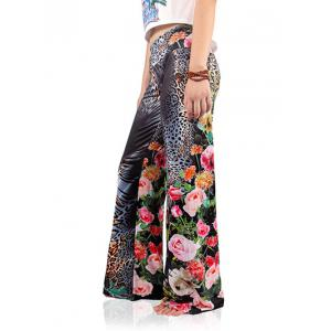 Floral Leopard Wide Leg Exumas Pants - GRAY 2XL