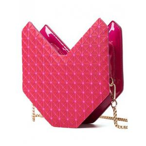 Fashionable Solid Colour and Geometric Pattern Design Shoulder Bag For Women -