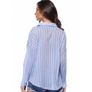 Chic Buttoned Pocket Design Striped Women's Shirt - LIGHT BLUE ONE SIZE