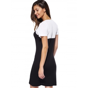 Trendy Round Neck Color Block Spliced Women's Dress -