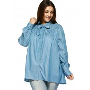 Plus Size Sweet Bow Tie Blouse -