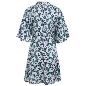Sweet Bell Sleeve Floral Print Stand Collar Flare Dress -