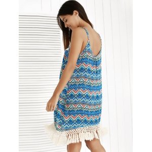 Ethnic Print Tassel Summer Cami Dress - BLUE M
