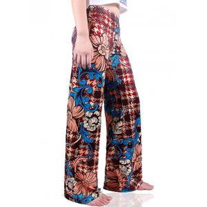 Houndstooth Flowers Wide Leg Palazzo Pants - DEEP RED XL