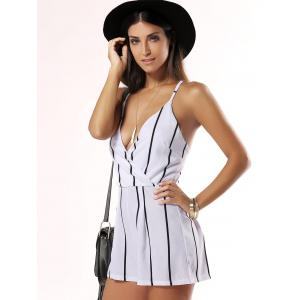Fashionable Plunging Neck Striped Romper -