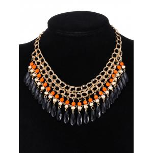 Vintage Layered Beads Water Drop Necklace -