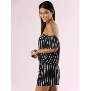 Off The Shoulder Backless Striped Romper -