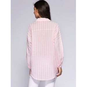 Trendy Loose-Fitting Pocket Design Striped Women's Shirt -