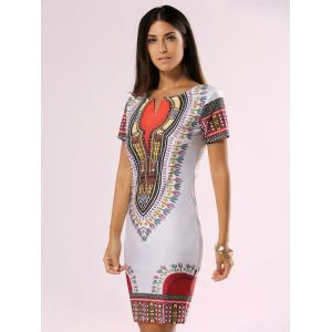 Ethnic Style Tribal Print Bodycon Dress -