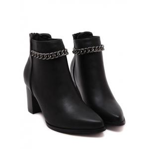 Stylish Black and Chain Design Short Boots For Women - BLACK 38
