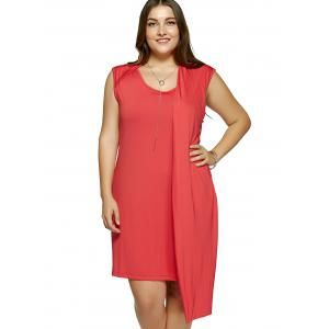 Plus Size One-Side Overlay Cocktail Dress - RED 5XL