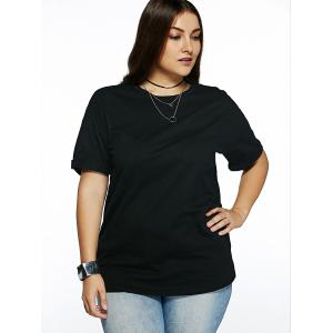Plus Size Cuffed Sleeve Black T-Shirt -