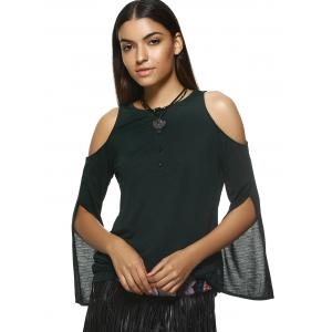 Stylish Round Neck Long Sleeve Cold Shoulder Blouse For Women - BLACKISH GREEN XL