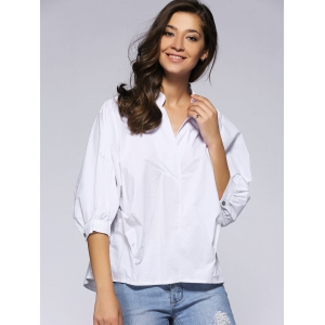 Refreshing 3/4 Sleeve Buttoned Loose-Fitting Women's Blouse -