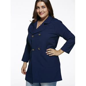 Double Breasted Plus Size Trench Coat - DEEP BLUE 5XL