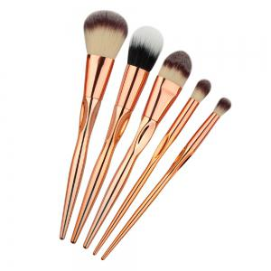 Stylish 5 Pcs Plating Handle Nylon Facial Eye Makeup Brushes Set -