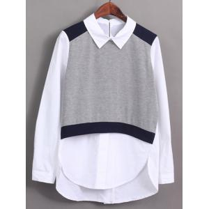 Trendy Knitted Vest Splicing High Low Furcal Shirt For Women -