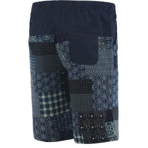 Patchwork Print Drawstring Cuffed Board Shorts For Men -