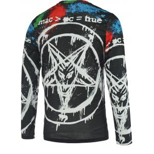 Pentacle 3D Printed Round Neck Long Sleeve T-Shirt For Men - COLORMIX 2XL