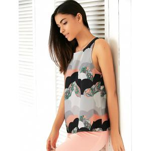 Women's Stylish Round Neck Ethnic Printed Tank Top - COLORMIX L