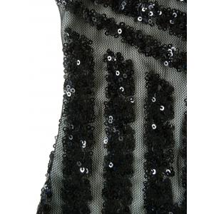Plunging Neckline Sequin Mini Bodycon Dress - BLACK S