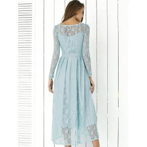 Lace Long Sleeve Swing Wedding Evening Dress - BLUE XL