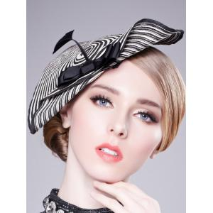 Bowknot Stripe 18th Century Straw Hat - WHITE AND BLACK