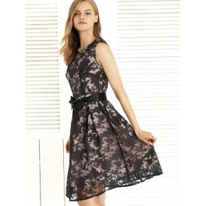 Bowknot Design Embroidery Lace Sleeveless Dress -