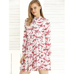 Long Sleeve Pleated Swing Print Dress - RED WITH WHITE M