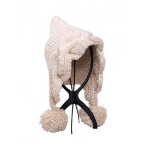 Stylish Ball Embellished Faux Wool Hat - OFF WHITE