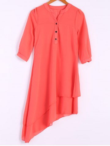 Online Women's Trendy V-Neck 1/2 Sleeve Pure Color Asymmetrical Dress